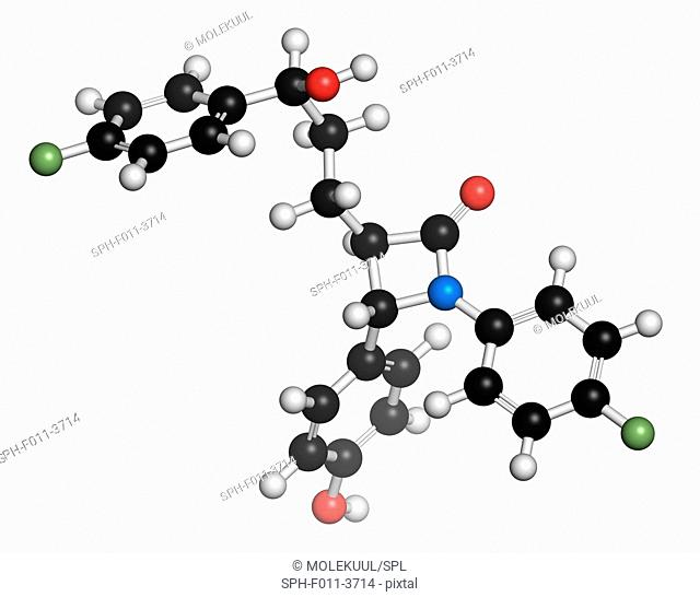 Ezetimibe cholesterol-lowering drug molecule. Atoms are represented as spheres with conventional colour coding: hydrogen (white), carbon (black), oxygen (red)