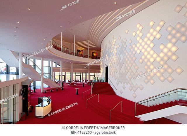 Spacious foyer with decorative light installation, Stage Theater an der Elbe, Hamburg, Germany