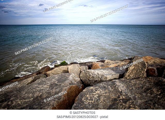 Rocks on the coast, Laccadive Sea, KanyaKumari, Tamil Nadu, India