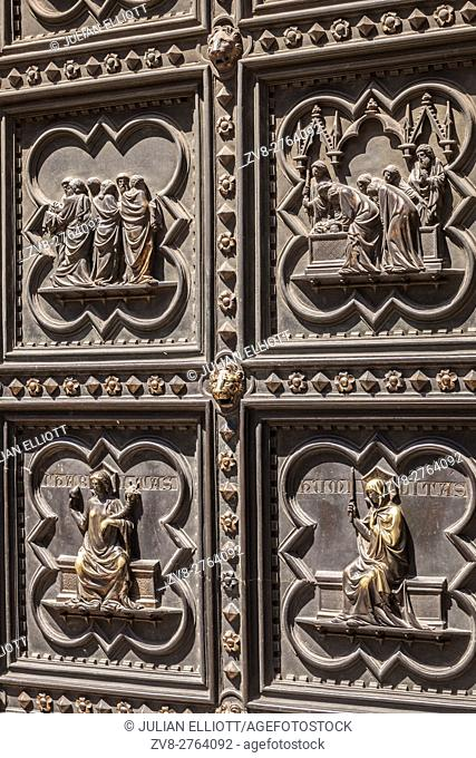 Detail of the battistero door in florence, Italy