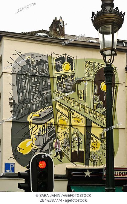 Painted wall, Mural, Marolles district, Brussels, Belgium, Europe