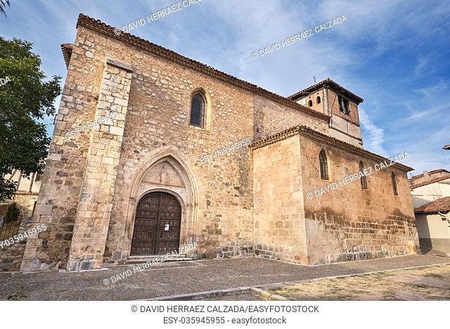 Old medieval church Saint Thomas in the ancient medieval village of Covarrubias, Burgos, Spain