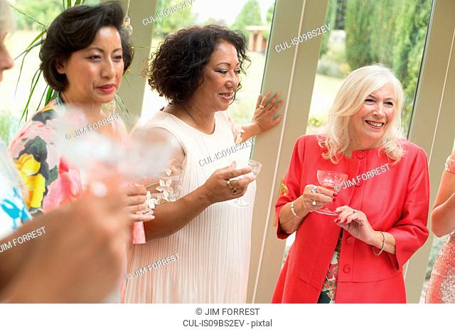 Female wedding guests at reception