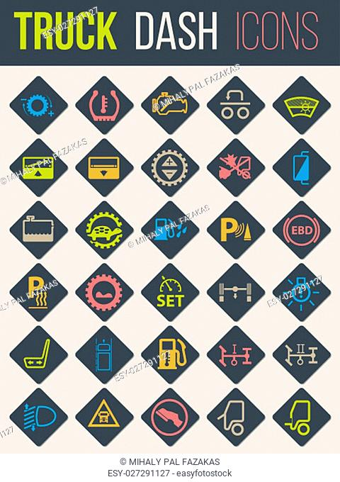Colorful icon set of thirty for truck dashboards 3