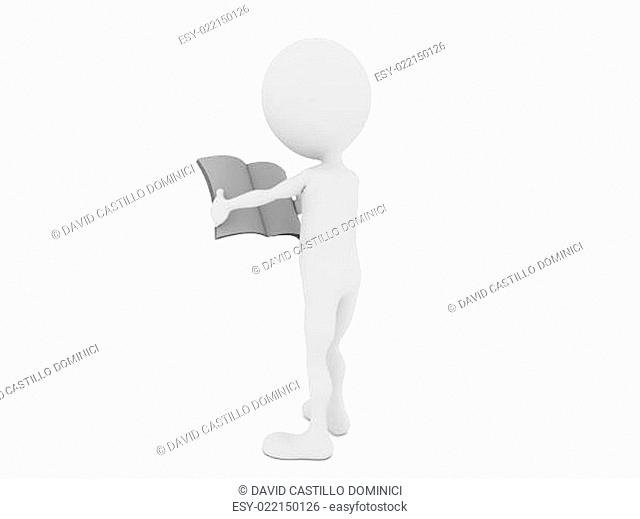 3d man with blank newspaper isolated on white