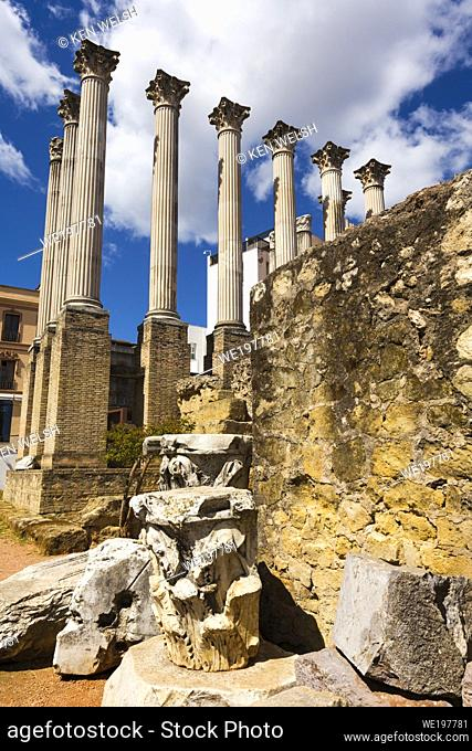 Cordoba, Cordoba Province, Andalusia, southern Spain. Columns with Corinthian capitals of 1st century AD Roman temple