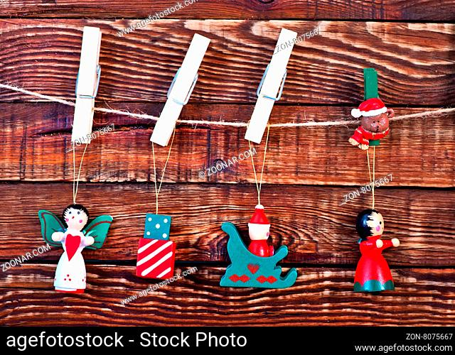 christmas decoration on the wooden table, christma background