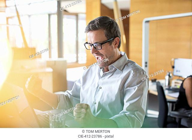 Businessman cheering at office desk