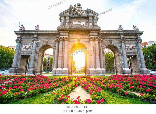 Sunlight through Puerta de Alcala, Madrid, Spain