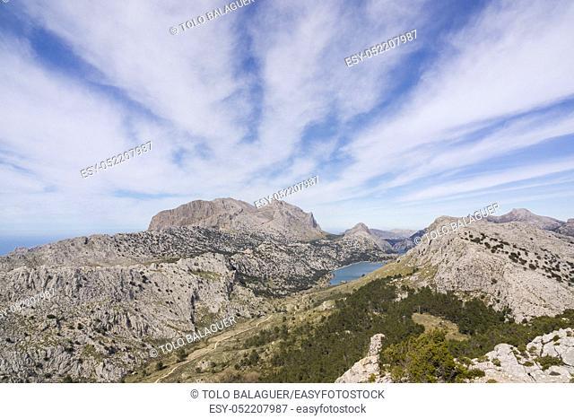 Puig Major, 1445 metros y embalse de Cuber, sierra de Tramuntana, Mallorca, balearic islands, spain, europe