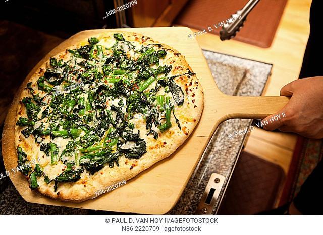 parmesan rapini pizza preparation