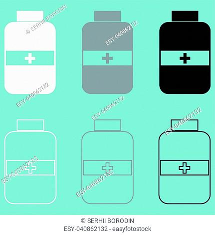 Jar with pill white grey black icon set