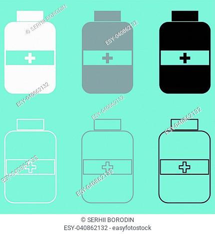 Jar with pill white grey black icon set