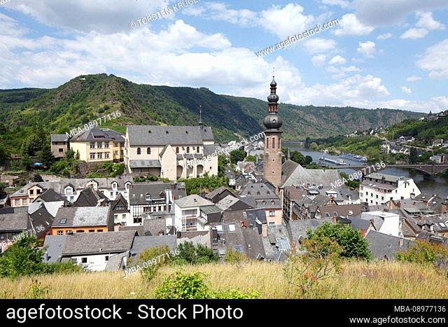 View of the old town, Cochem on the Mosel, Moselle, Rhineland-Palatinate, Germany, Europe