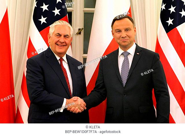 January 26, 2018 Warsaw, Poland. President of Poland Andrzej Duda met with former US Secretary of State Rex Tillerson