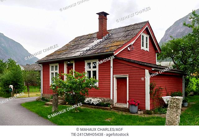 Europe, Norway, Hardanger county; Eidfjord area; Rural landscape with old wood House, Stone roofing;