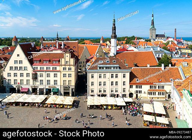 Estonia, Tallinn, view from the city hall towards the old town and the town hall square
