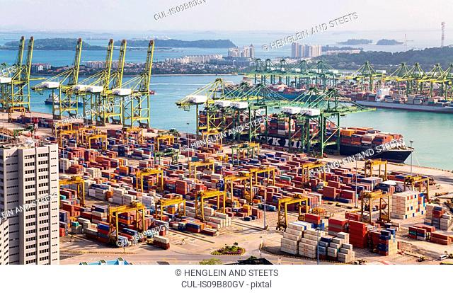 Elevated view of container terminal, cranes and container ship, Singapore, South East Asia