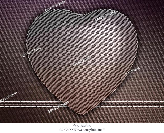 Carbon fibre heart shape over stetiched background. Large resolution