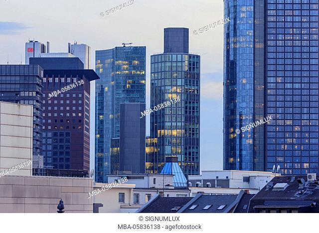 Europe, Germany, Hessia, Frankfurt, financial district, skyline with the high rises Japan Tower, Skyper, garden tower and the Main Tower