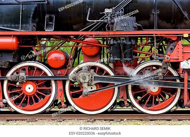 steam locomotive&#039 s detail, Veendam - Stadskanaal, Netherlands
