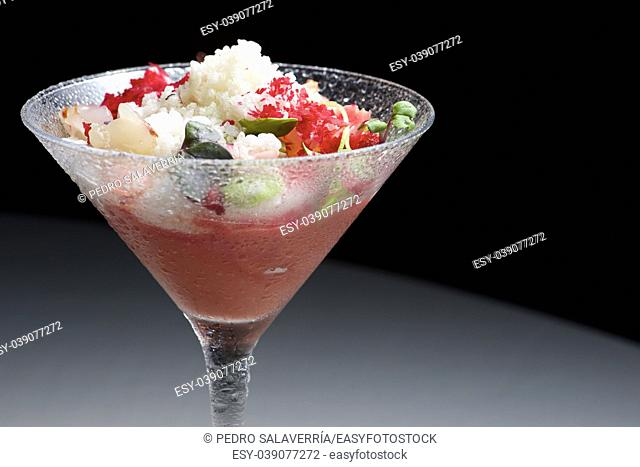 Cup gazpacho with cherries