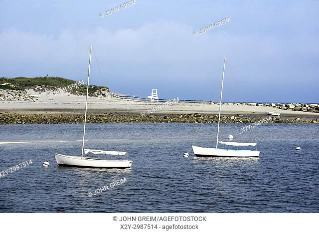 Sailboats moored in Sesuit Harbor, Dennis, Cape Cod, Massachusetts, USA