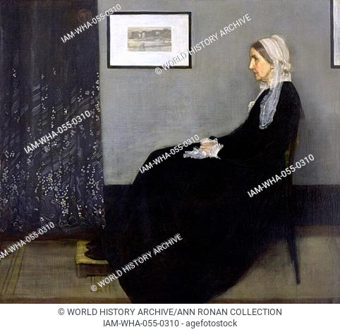 Painting titled 'Arrangement in Grey and Black No.1' , famously known as Whistler's Mother. Painted by James McNeill Whistler. Dated 1871