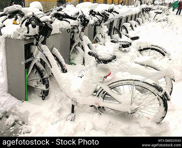 January 9, 2021, bicycles in Opera square after Storm Filomena brought intense snow, MADRID, SPAIN, EUROPE