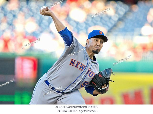 New York Mets relief pitcher Fernando Salas (59) works in the seventh inning against the Washington Nationals at Nationals Park in Washington, D.C