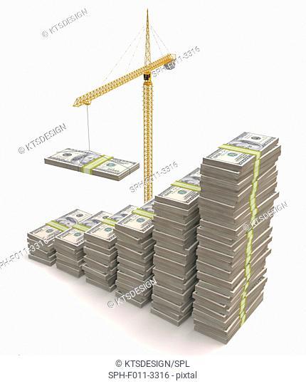 Financial growth, conceptual illustration