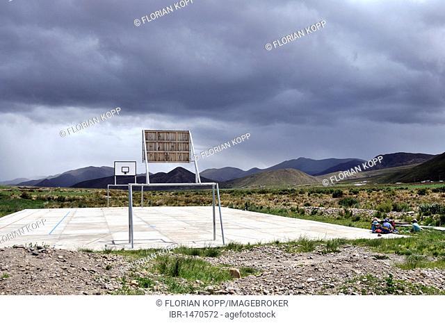 Sports ground, Bolivian Altiplano highlands, Departamento Oruro, Bolivia, South America