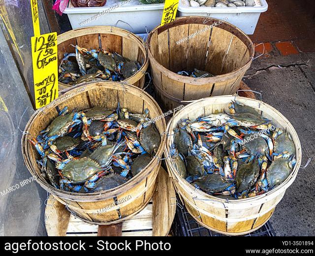 New York. Manhattan. Chinatown. Crabs for sale