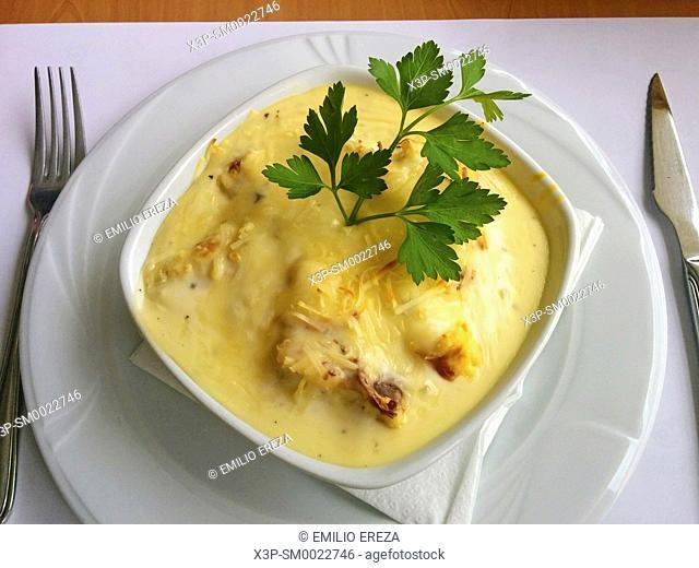Grilled cauliflower with ham