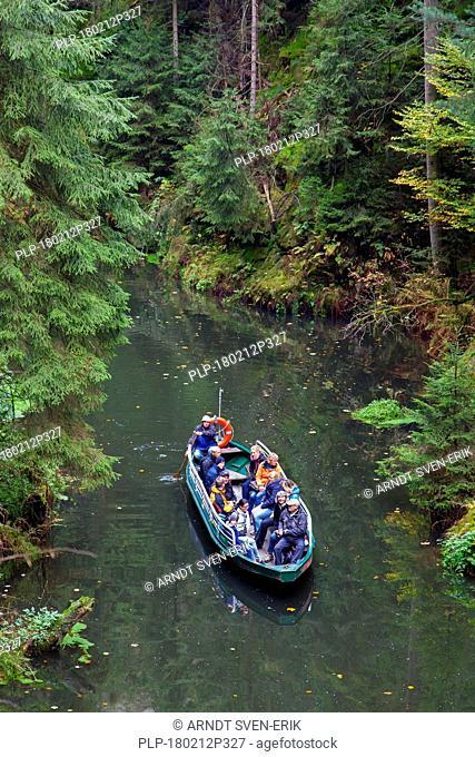 Rowing boat at Oberen Schleuse / Upper Lock on the river Kirnitzsch in Hinterhermsdorf, Saxon Switzerland National Park, Saxony, Germany
