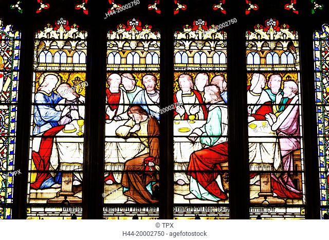 England, Worcestershire, Cotswolds, Evesham, Evesham Abbey, All Saints Church, Stained Glass Window depicting The Last Supper