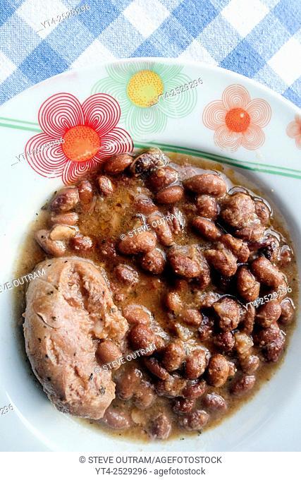 Greek Cuisine. Loukaniko Sausage with Beans