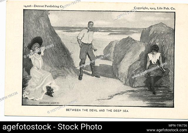 Between the Devil and the Deep Sea, Life Cartoons. Detroit Publishing Company postcards 14000 Series. Date Issued: 1898 - 1931 Place: Detroit Publisher: Detroit...