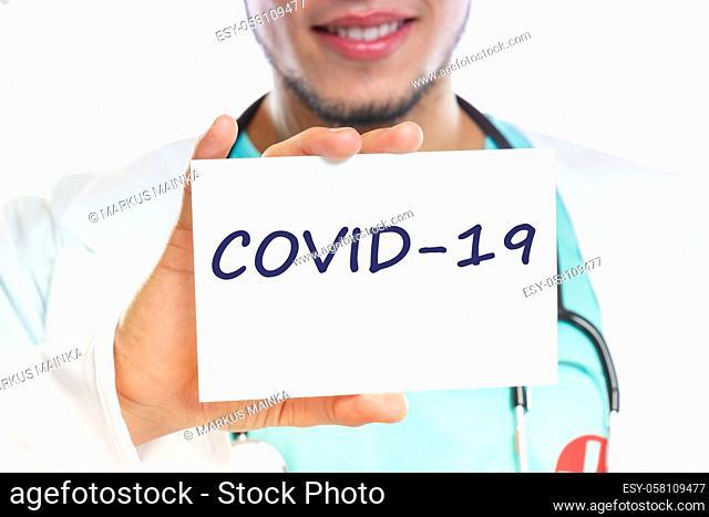 COVID-19 COVID Corona virus coronavirus disease doctor ill illness healthy health with sign