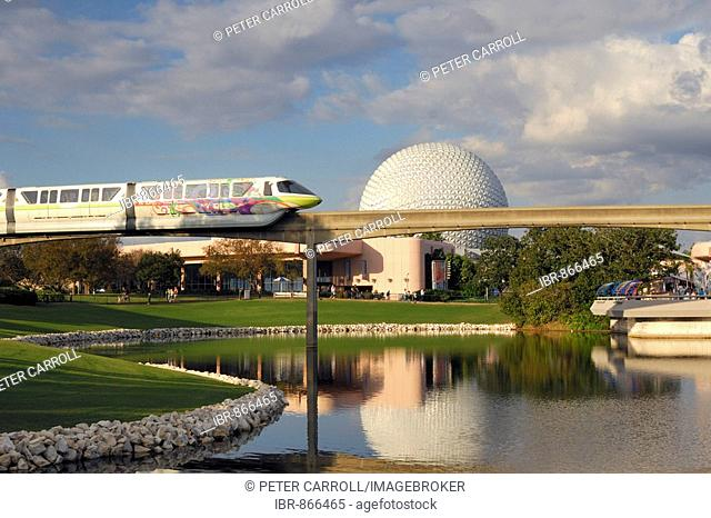 Monorail with Spaceship Earth behind, Epcot, Disney World, Florida, USA