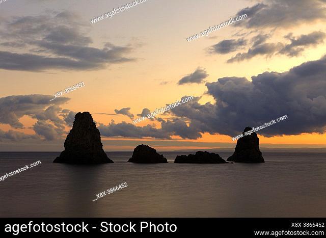 Cyclops stacks in Aci Trezza at sunrise, Sicily, Italy