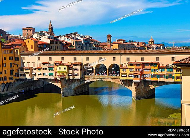 The Ponte Vecchio bridge over the River Arno, Florence, Italy