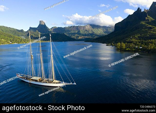 Sailing Boat in Cook's Bay, Moorea, French Polynesia
