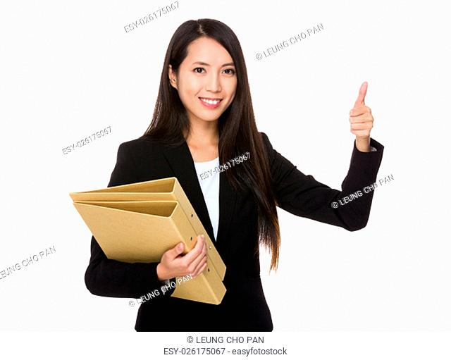 Young Businesswoman hold with folder and thumb up gesture