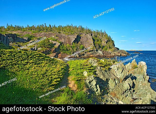 Rocky shoreline along the Atlantic Ocean. Baie Verte Peninsula, Coachman's Cove, Newfoundland & Labrador, Canada