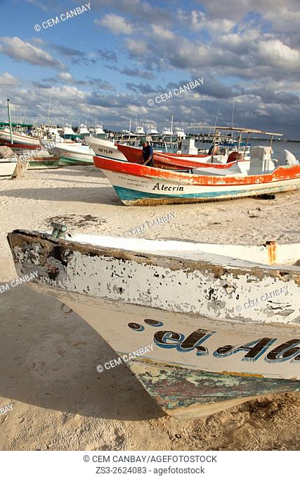 Fishing boats at the beach, Isla Mujeres, Cancun, Quintana Roo, Yucatan Province, Mexico, North America