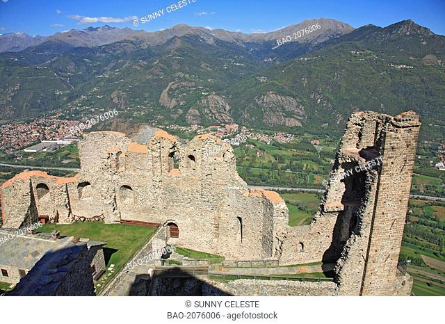 view over Torre della bell' Alda of Sacra di San Michele to the Valle die Susa, Piedmont, Italy
