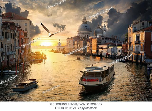 Beautiful calm sunset over Canal Grande in Venice, Italy
