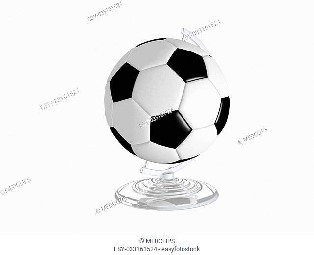 3D Illustration Of Soccer Ball On Globe Stand