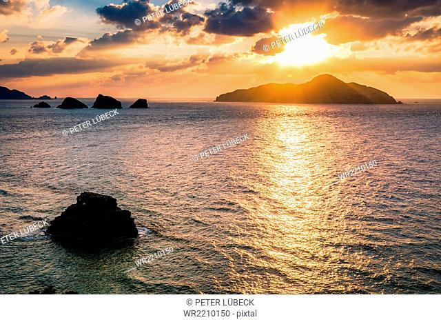 Sunset over the Kerama Island, west of Okinawa, Japan